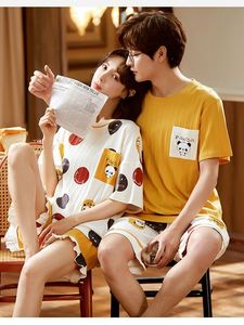2021 Summer Pajamas Set Couple Sleepwear Cotton Cartoon Cute Shorts&Short Sleeve Tops Women Nightwear Loungewear Men Night Suits