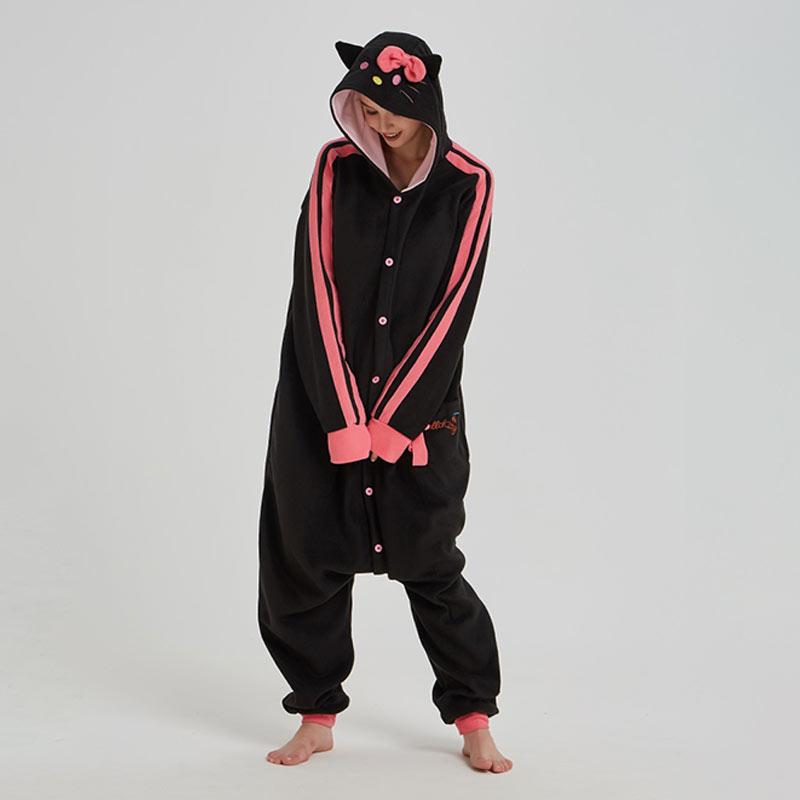 Kitty noir Kigurumis femmes fille maison pyjama Animal chat combinaison polaire Onesie Festival Halloween noël mignon tenue