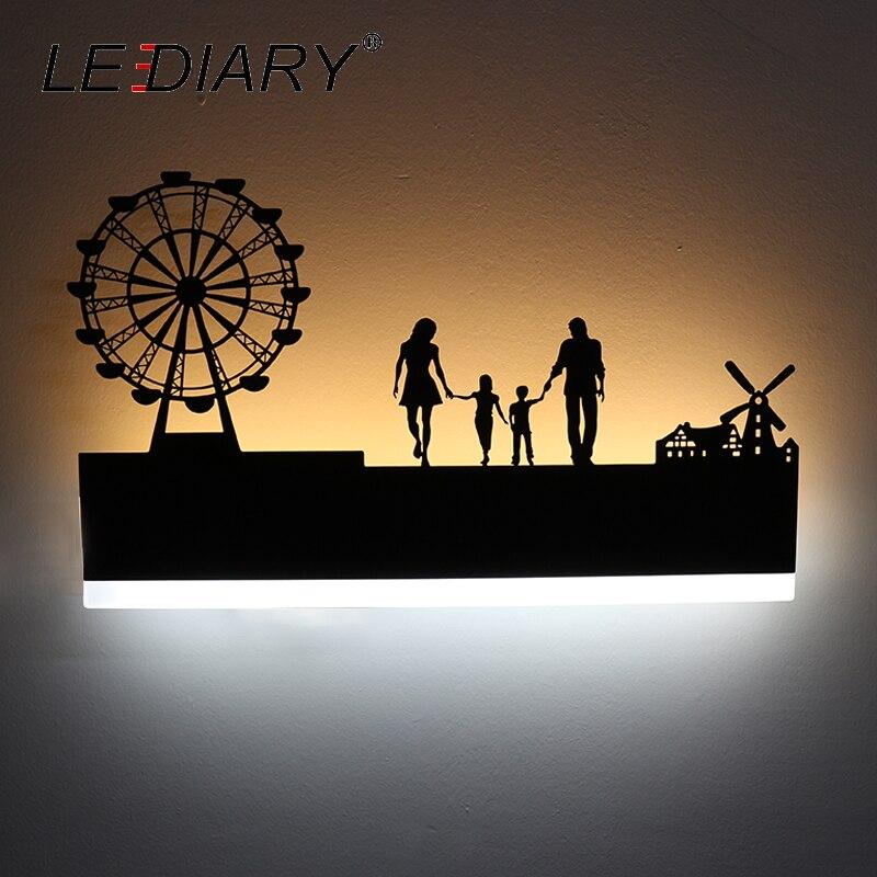LEDIARY Retro LED Wall Lamp Creative Painting 110-240V Modern Black Sconce Decoration For Bathroom Living Bed Room Animal