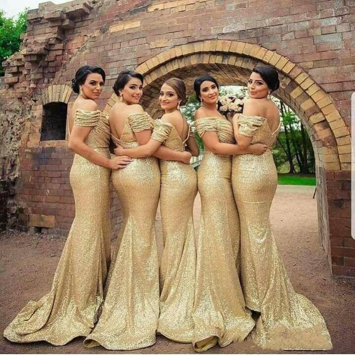 فستان طويل لوصيفة العروس مطرز بالترتر الشامبانيا مقاس كبير مثير عاري الكتفين 2021 حورية البحر فساتين زفاف رسمية للضيوف