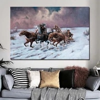 famous painter snow horse wall art canvas painting poster prints modern painting wall picture for living room home decor artwork