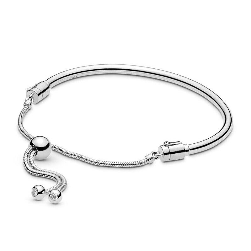 2019 novo 100% 925 prata esterlina deslizante pulseira pulseira ajuste europa moda feminina diy charme grânulo jóias presente