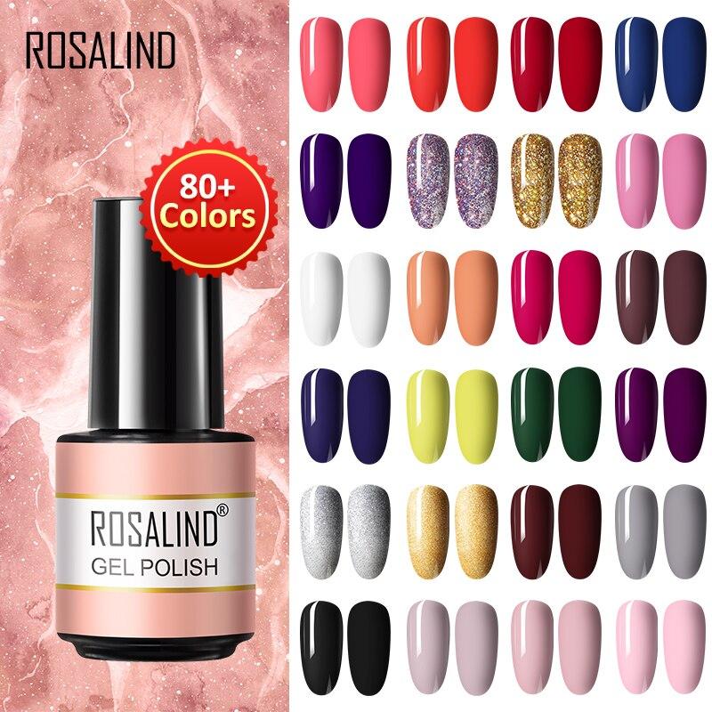 ROSALIND Gel Nail Polish Hybrid Gel Varnishes Semi Permanent  Pure/Glitter/Shiny More Nail Art Desig