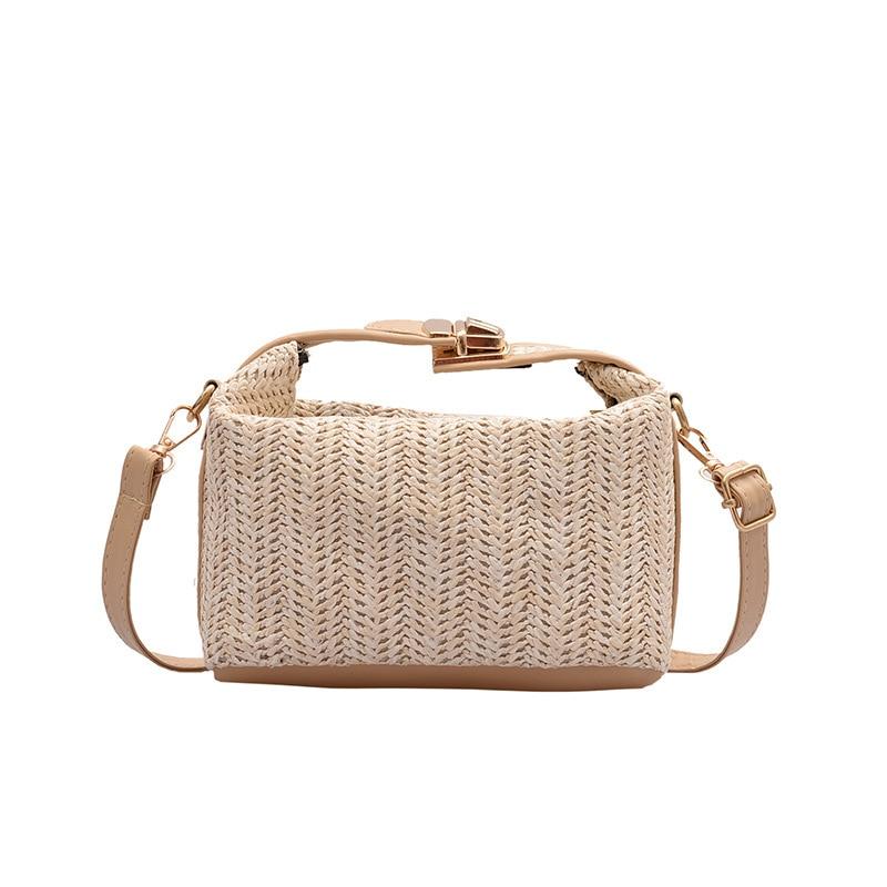 New Straw Woven Handbag Female Hand Knitting Shoulder Bag 2021 Brand Luxury Handbag Large Capacity Messenger Bag Tote for Girls