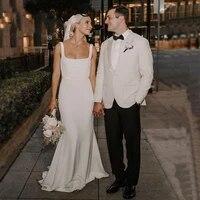 simple elegant square neck crepe mermaid wedding dress 2021 long satin bridal gowns hot sale vestido de mariage