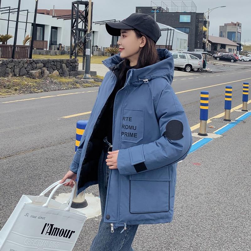 Chaquetas largas de Invierno para mujer coreanas, parka gruesa holgada con capucha estilo safari, chaqueta acolchada de algodón con estampado de letras, cazadora para mujer