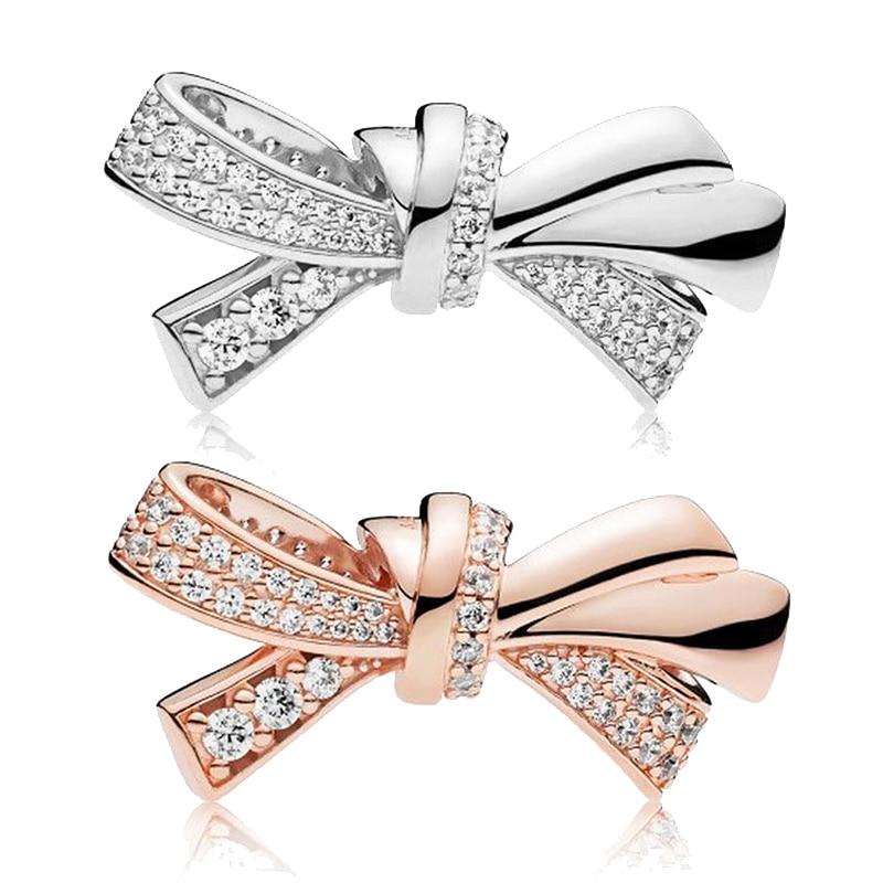 Fashion blingbling Bow charms fit pandora bracelet 3mm snake chain bead jewelry diy pendant bangle for women girl gift