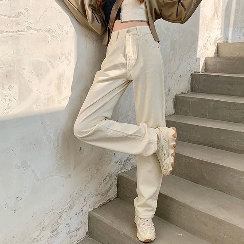 Женские джинсы в винтажном стиле, универсальные свободные джинсовые брюки в стиле ретро с высокой талией, длинные джинсы, женские джинсы