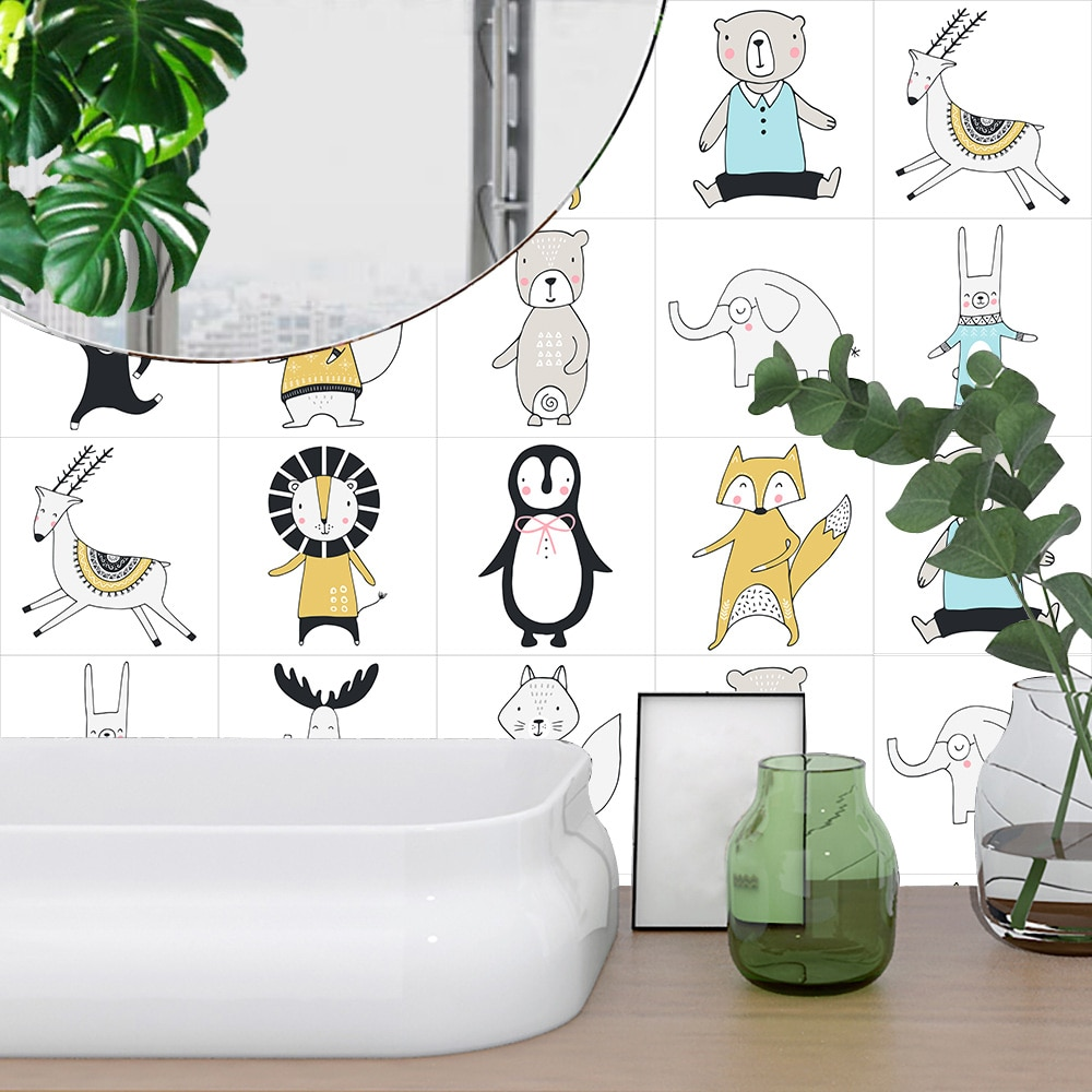 10 unids/set de estilo nórdico León pingüino elefante duro azulejos pegatina de pared cocina armario hogar Decoración de pared calcomanías Peel & Stick Mural