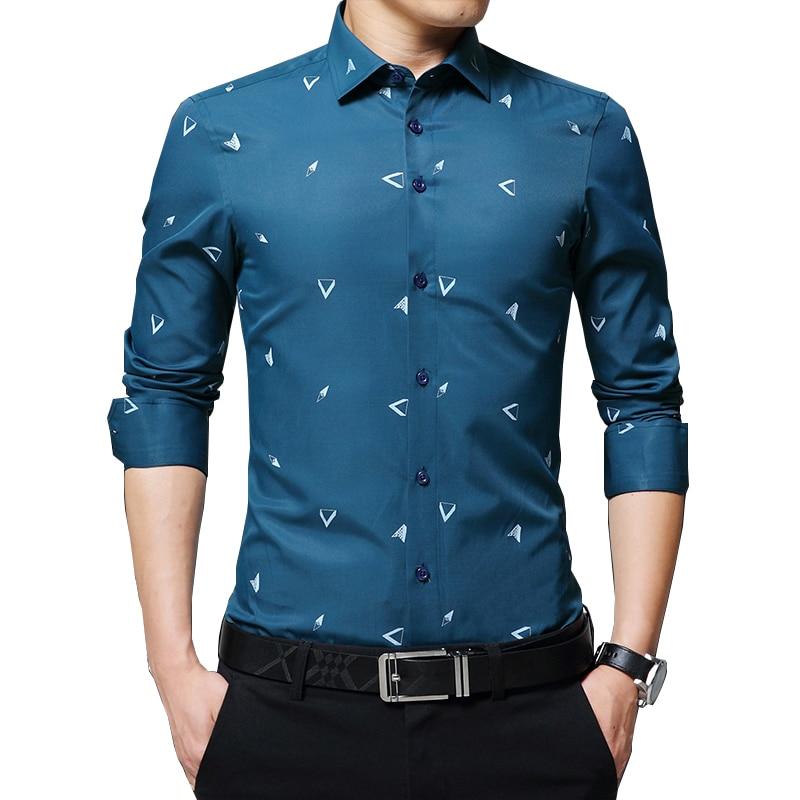 BROWON 2020 nouveaux hommes chemises Argyle imprimé Jacquard affaires chemise hommes à manches longues coupe régulière Non-fer Style coréen