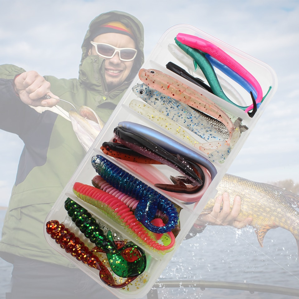 25pcs/Box small soft bait sea fishing tackle fishing lure silicone bait soft Transparent fish Set and Tackle Box Stick Lures