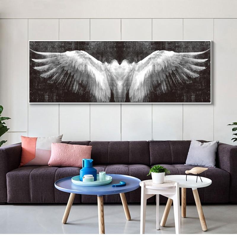 Posters de parede e impressão preto e branco asas de anjo do vintage arte da parede pintura em tela asas imagem da parede para sala estar decoração