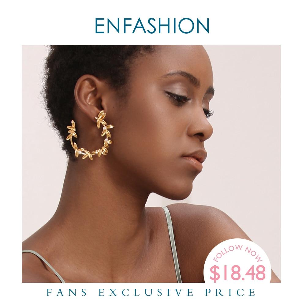 Enfashion ramo de oliveiras brincos de argola de folha para as mulheres cor de ouro statement metal flor grandes aros brincos moda jóias ec191072