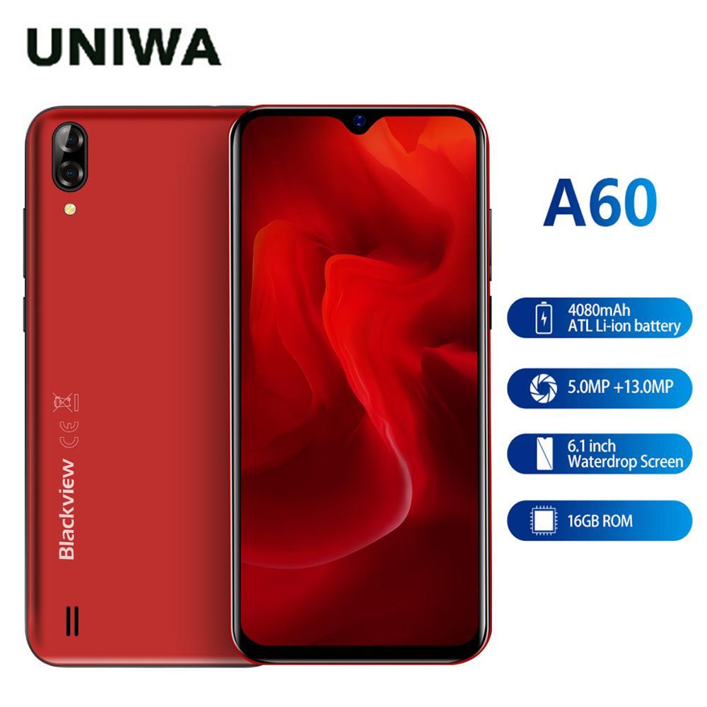 Перейти на Алиэкспресс и купить Новый красный цвет Blackview A60 3G мобильный телефон Android 8,1 смартфон четырехъядерный 4080 мАч мобильный телефон 2 Гб 16 Гб 6,1 дюйма 19,2: 9 экран