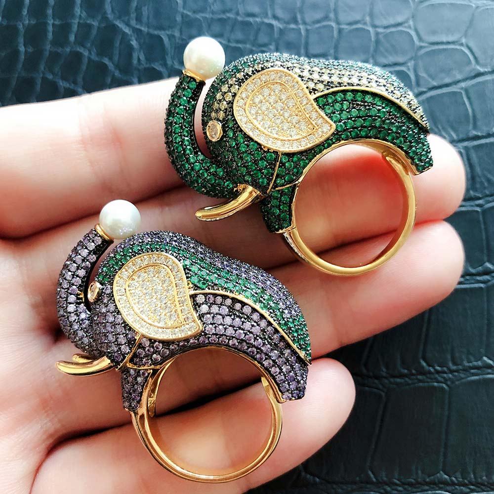 GODKI 2019 de moda elefante grande encantos Zircon cúbico declaración anillo para mujer anillos de dedo perlas encanto anillo, joyería de playa
