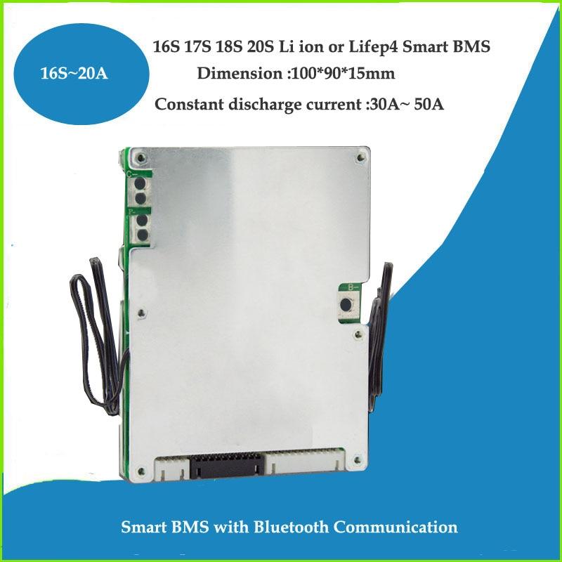 BMS ذكي Lifepo4 20S 60V مع بطارية ليثيوم أيون 72V ، PCB ، اتصال UART ، وظيفة مراقبة التطبيقات مع 30a أو 50a