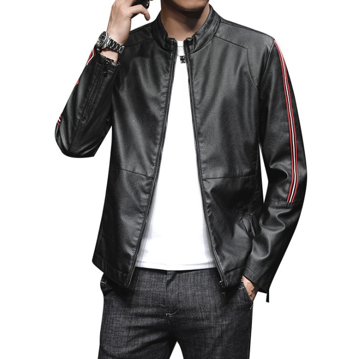 New arrival Fashion Men Stand Leather Jacket Jaqueta Couro Casual mens leather jackets and coats Brand Motorcycle Jacket