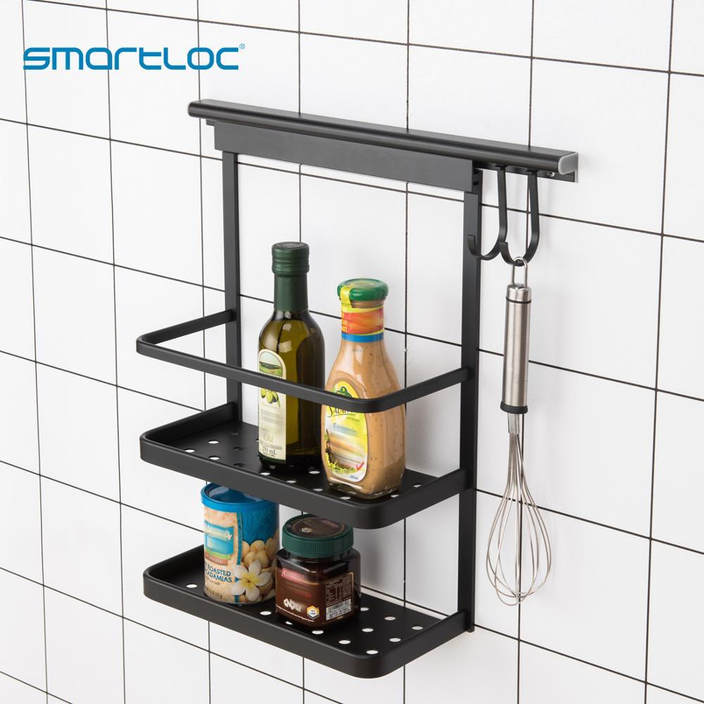 Smartloc-رف تخزين مثبت على الحائط ، حديد ، خطافات ، صندوق توابل ، منظم ، غطاء وعاء ، رف ، سكين ، تجفيف شعبي