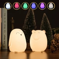 cute pet animal led night light soft silicone colourful pig penguin night lamp kids gift bedroom decor ornaments usb pat lampa