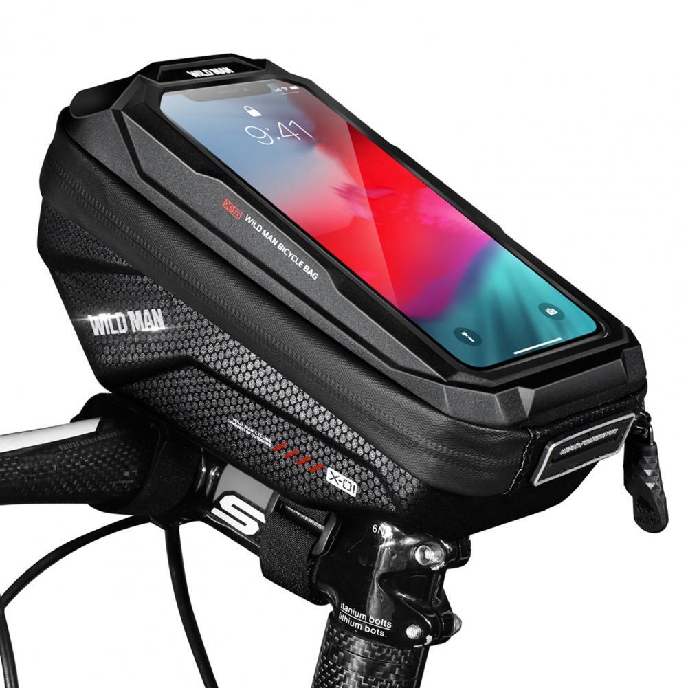35% Discounts Hot! WILD MAN-X1 Rainproof EVA Hard Shell Cycling Handlebar Bag for Mountain Bike