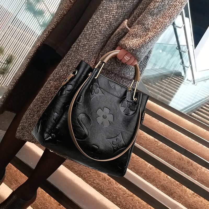 حقائب يد جلدية حقيقية 2021 جديد السيدات موضة الطباعة الغلاف الجوي حقيبة ساعي سعة كبيرة حقيبة يد واحدة نيفر