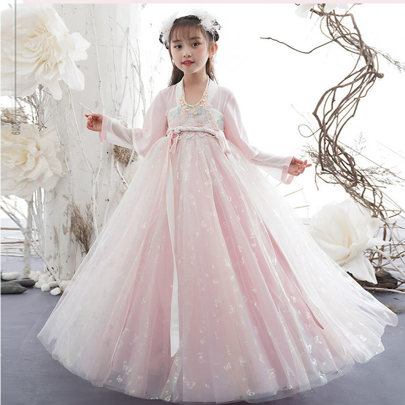 New Girl Tang Suit Chinese Style Embroidered Skirt Princess Dress Children's Retro Costume Dress Hanfu Performance Costume LC136 enlarge