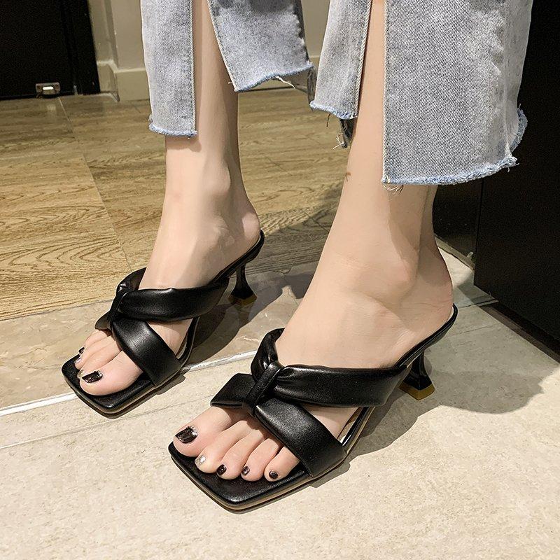 Outdoor wear Women slippers New summer 2021 sandals high-heeled flip flops black Open toe women's shoes