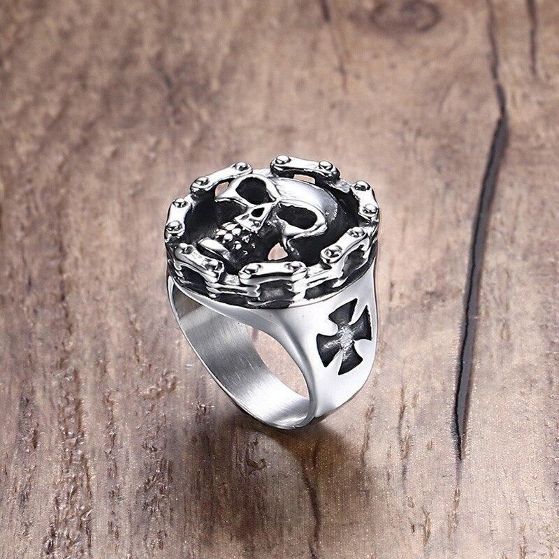 Мужское кольцо из нержавеющей стали, Мотоциклетная цепь с черепом и крестом, украшения на день Хэллоуина