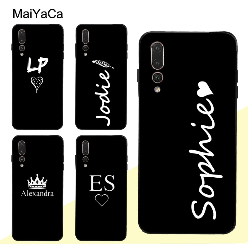 MaiYaCa PERSONALISED INITIALS Name BLACK Case For Huawei P30 Pro P40 P10 P20 Lite Mate 20 30 10 Lite P Smart 2019 Z