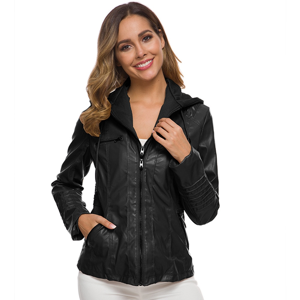 Women Faux Leather Jacket Casual 2020 Fashion High Quality Autumn Hoodies Motorcycle Black Outerwear PU Female Coat