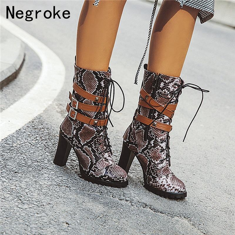 Botas de couro de python sexy botas femininas de couro cinto de renda de salto alto meados de bezerro botas femininas outono sapatos de inverno botas zapatos mujer