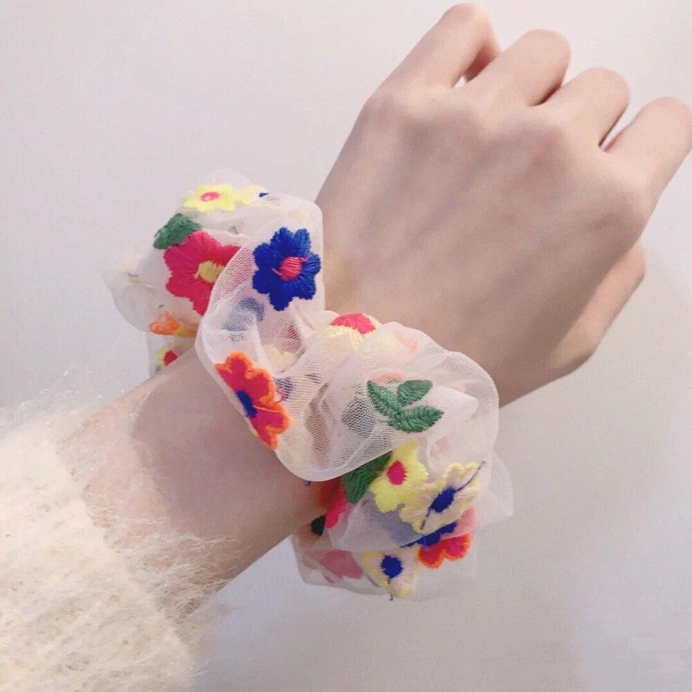 Bordado pequeño Floral Scrunchies estampado de flores pelo de moda Cola de Caballo Hold Elestic Hair Tie cuerda para las mujeres accesorios para el cabello fiesta