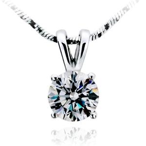 TN205 Free Shipping!Fashion Classic 1 carat/2 carat 4prongs sona Simulated Gem Necklace Wedding Bridal Pendant For Women jewelry