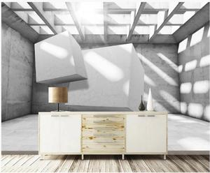 Modern minimalistic expansion space geometric stereo background wall modern wallpaper for living room