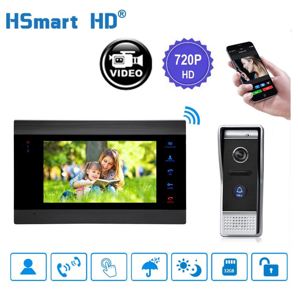 "HD 720P 7"" Wireless WiFi LCD Video Doorphone 1200TVL IP65 Outdoor Camera Video Intercom System Motion Detection Smart Doorbell"