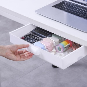 Drawer Type Storage Box Under The Desk Dormitory Stationery Sorting Box Home Office Clutter Storage Box Plastic Storage Drawer