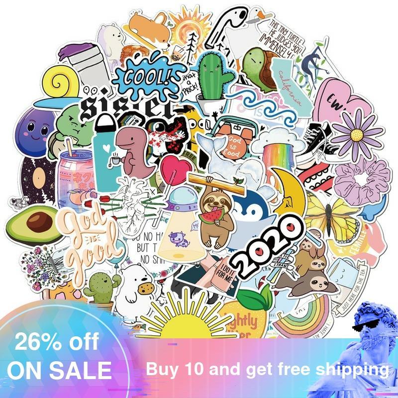 75 Uds verano fresco Vsco Paquete de pegatinas Rosa chica Anime Stiker para los niños en el ordenador portátil nevera teléfono Skateboard pegatina para maleta