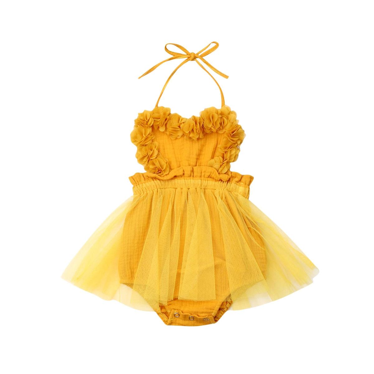 Mono de gasa para bebé niña recién nacido, vestido amarillo de encaje liso sin mangas con cinturón, trajes, ropa de verano