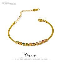 Изысканный красочный браслет Yhpup из фианита, новый металлический Радужный Браслет из нержавеющей стали 18 K, ювелирные изделия, браслет 2021