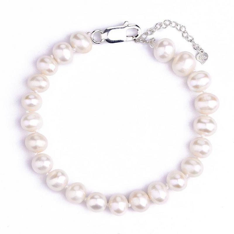 Simples coreano pérola pulseira 8mm-9mm de água doce pérola pulseira elegante e versátil única camada jóias