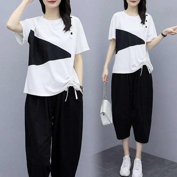 Cotton Summer Slim Suit Flab Hiding Western Style Youthful-Looking Two-Piece Set tracksuit women shorts set pant suits sweatsuit