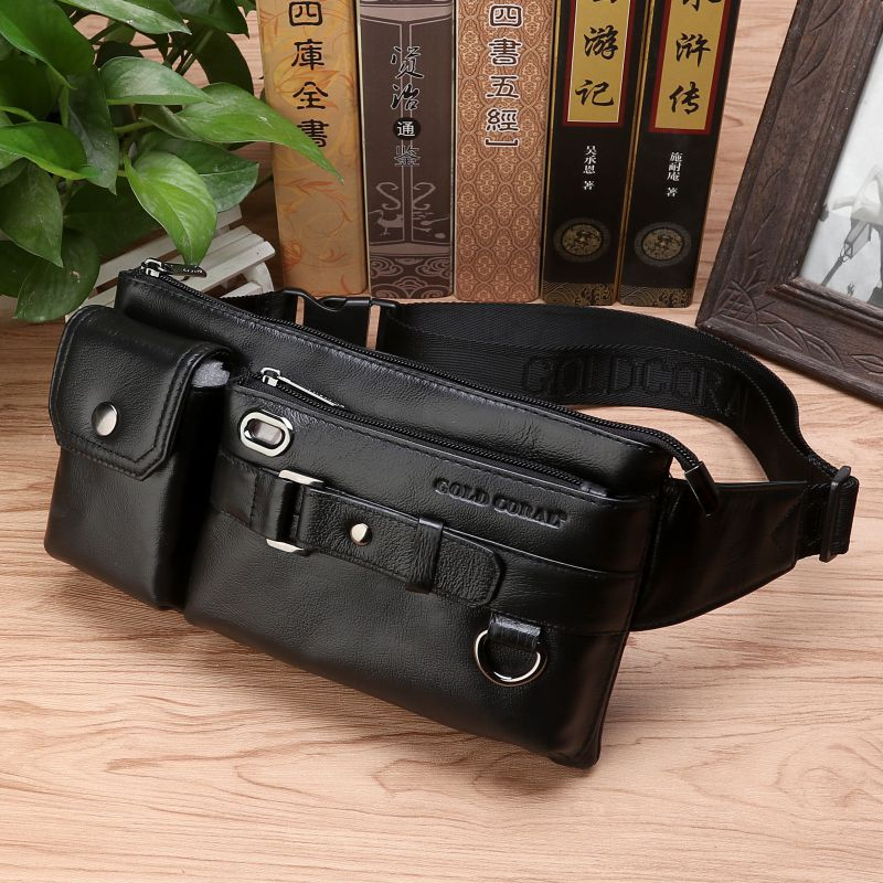 High Quality Men Genuine Leather Sling Chest Bum Waist Bags Pouch Travel Male Real Cowhide Hip Belt Fanny Pack Bag new men genuine leather fanny pack waist chest bag vintage travel shoulder messenger hip belt bum pouch sling pack chest bag