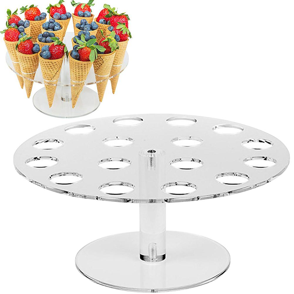 Round Acrylic Ice Cream Cone Dessert Holder Display Stand Party Shelf Baking Accessories Pancake