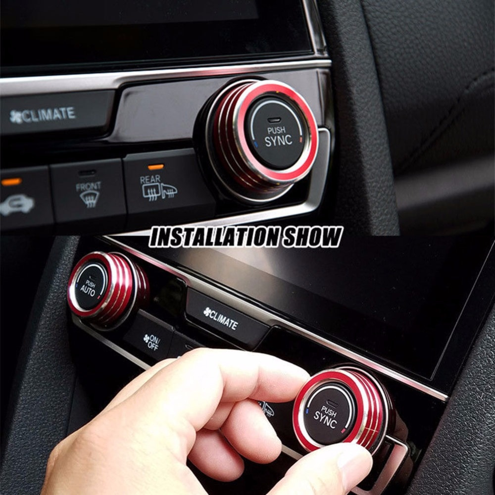 2pcs/Set Aluminum AC Switch Buttons Cover Air Condition Climate Control Ring Knob Trim for Honda Civic  #271091