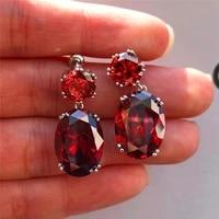 drop earrings light luxury red cut zircon earrings women elegant wedding anniversary gifts noble ladies party jewelry new