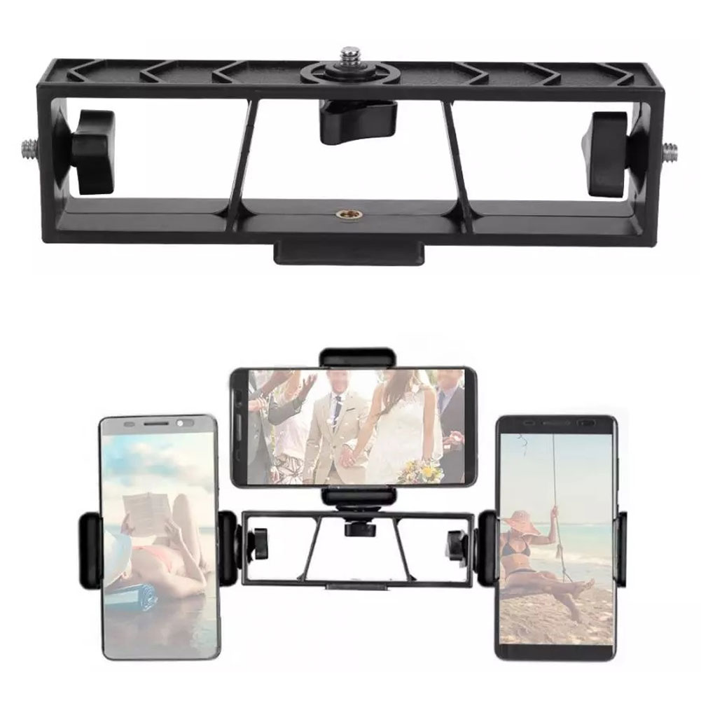 Monopod Triple Multi-Function Live Broadcast Extension Bracket Smartphone Camera Stand For Tripod Cam