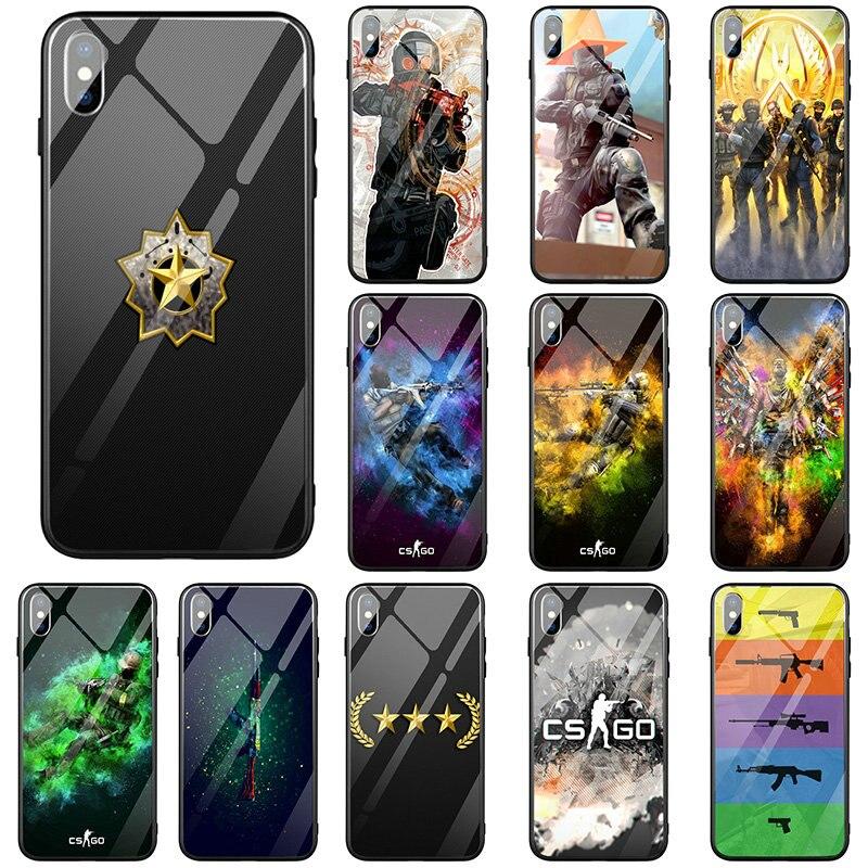 Vidrio Templado funda de teléfono para iPhone 5 5S SE 2020 6S 6 más 7 7plus 8 8 X XR XS 11 Pro Max bolsas Counter Strike CS ir