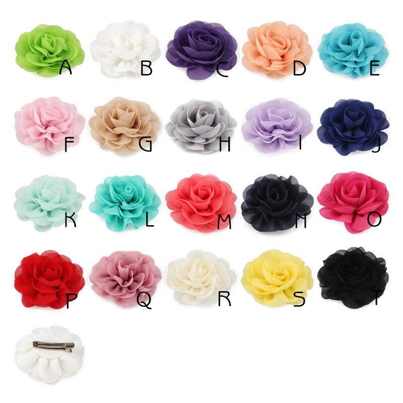 Wholesale 1PC 13 colors 8.5 cm Soft Chiffon Flowers Hair Clips Rose Fabric Flowers Headwear Clip Hair Barrette Accessories
