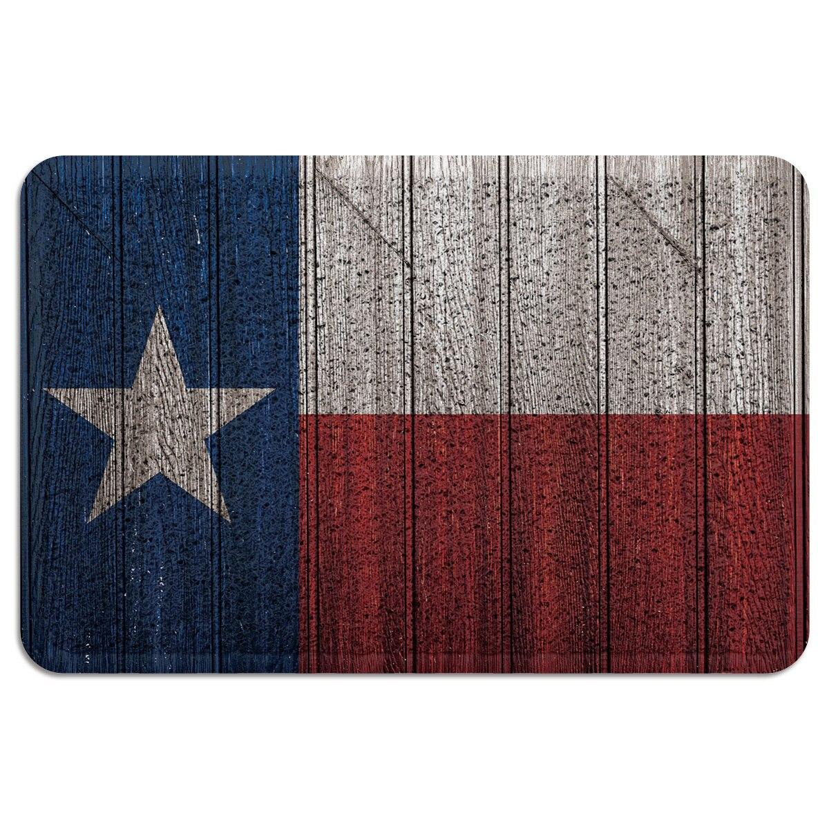 Tapete de entrada antideslizante con respaldo de goma de PVC y madera Estilo Vintage de Texas