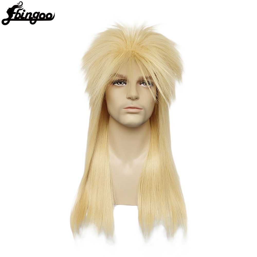Ebingoo Hair Cap+70s 80s Hallween Metal Rocker Disco Wig Men Blonde Long Straight Synthetic Cosplay Mullet Wig for Male Female